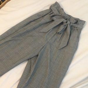 plaid paperbag pants